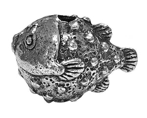 Green Girl Puffer Fish 1 inch Pewter Bead Antique Silver Color