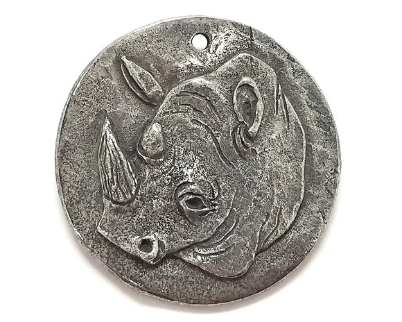Green Girl Rhino Coin XLarge Pewter Pendant Antique Silver Color