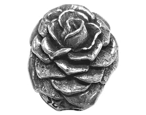 Green Girl Rose Blossom 11/16 inch Pewter Bead Antique Silver Color