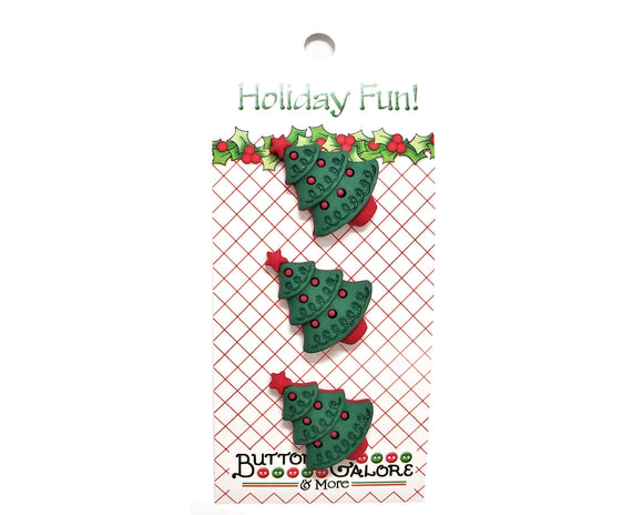 Buttons Galore Christmas Trees (Red) Novelty Buttons Holiday Fun Collection