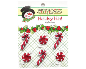 Buttons Galore Peppermint Twist Novelty Buttons Holiday Fun Collection