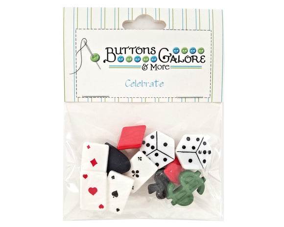 Buttons Galore Vegas Dice Cards Novelty Buttons Celebrate Collection Novelty Buttons