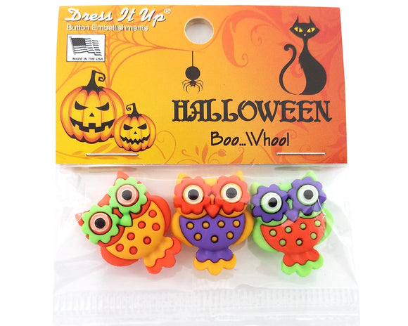 Halloween Boo Whoo! Novelty Buttons Dress It Up Theme Pack
