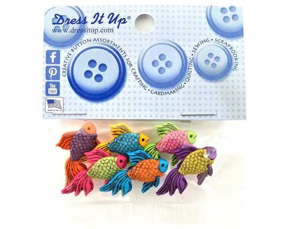 Glitter Fishy Novelty Buttons Dress It Up Theme Pack