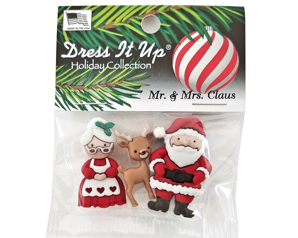Christmas Mr. & Mrs. Claus Novelty Buttons Dress It Up Theme Pack