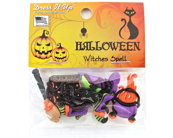 Halloween Witches Spell Novelty Buttons Dress It Up Theme Pack
