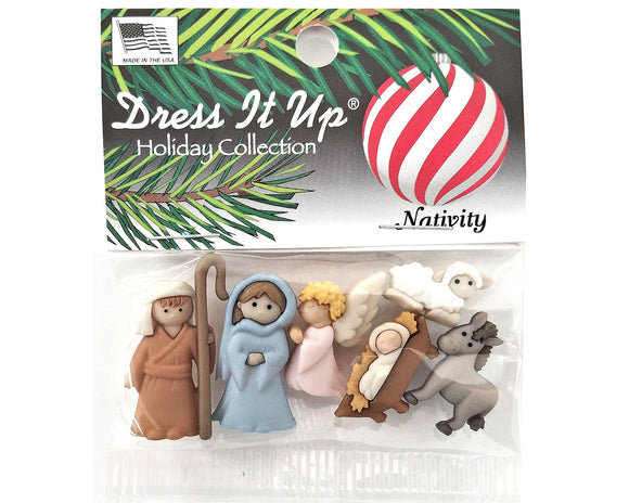 Christmas Nativity Novelty Buttons Dress It Up Theme Pack
