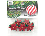 Christmas Red Poinsettias Flowers Novelty Buttons Dress It Up Theme Pack