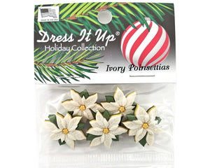 Christmas Ivory Poinsettias Flowers Novelty Buttons Dress It Up Theme Pack