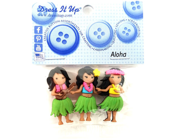 Aloha Hawaiian Hula Dancers Novelty Buttons Dress It Up Theme Pack
