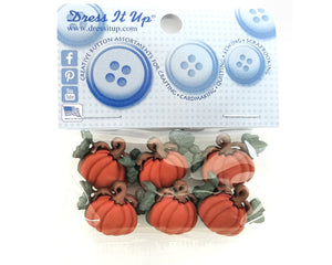 Pumpkins With Vines Novelty Buttons Dress It Up Theme Pack