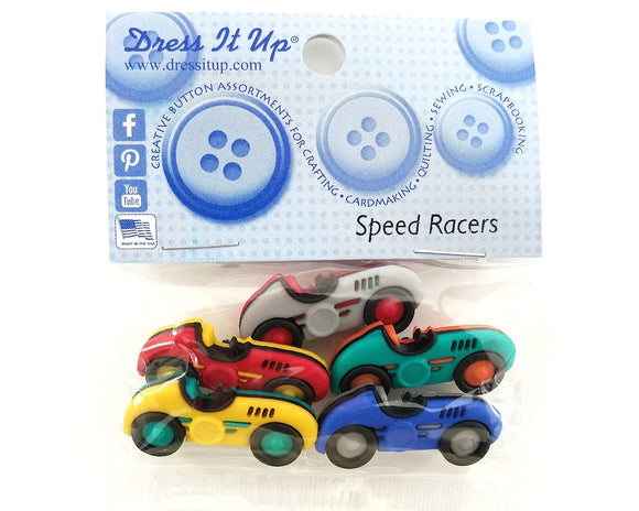 Speed Racers Cars Novelty Buttons Dress it Up Theme Pack