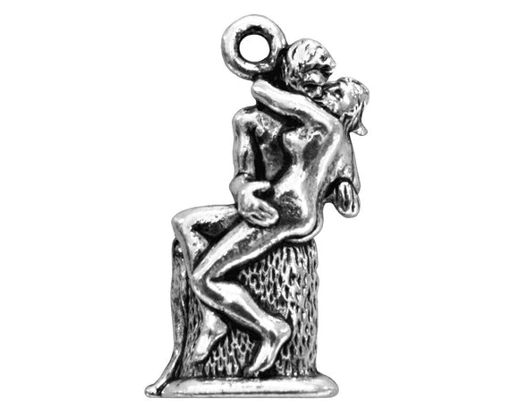 Quest Beads Rodin's Kiss 7/8 inch  Pewter Pendant Silver Plated