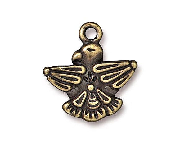 TierraCast Thunderbird 3/4 inch Pewter Charm Brass Plated