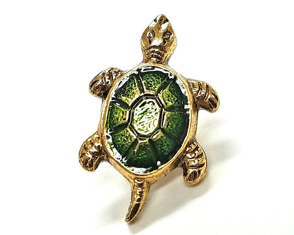 Susan Clarke Small Turtle 5/8 inch Metal Button Green Color