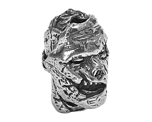 Green Girl Zombie Head 7/8 inch Pewter Bead Antique Silver Color