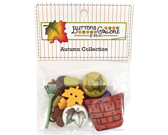 Raking Leaves Novelty Buttons Buttons Galore Autumn Collection