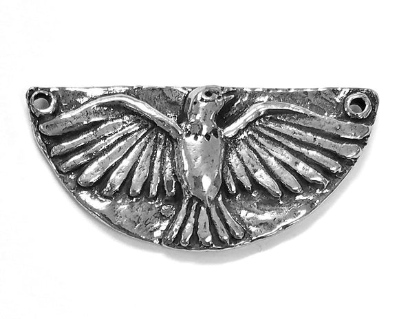 Green Girl Studios Magic Bird Large Pewter Pendant Link Antique Silver Color