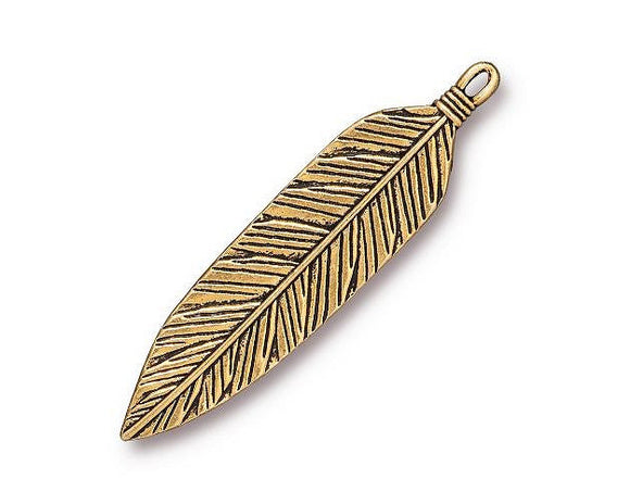 TierraCast Western Feather Extra Large Pewter Pendant Gold Plated