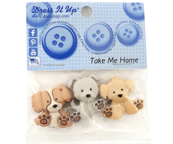 Take Me Home Puppies Novelty Buttons Dress It Up Theme Pack