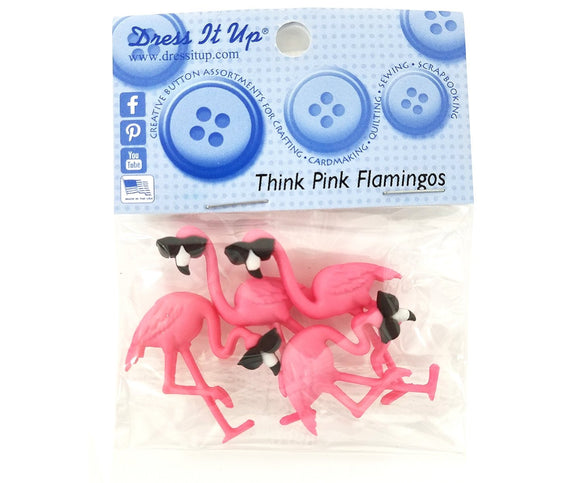 Think Pink Flamingos Novelty Buttons Dress It Up Theme Pack