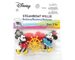 Disney Steamboat Willie Mickey Mouse Novelty Buttons Dress it Up Theme Pack