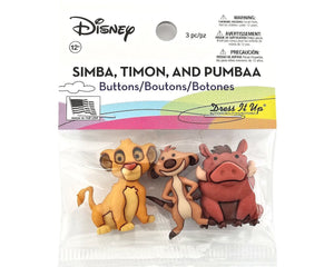 Disney Simba, Timon & Pumbaa Novelty Buttons Dress It Up Theme Pack