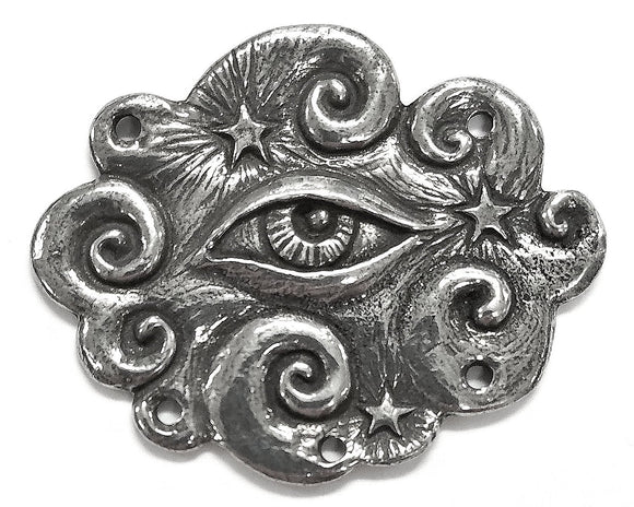 Green Girl Studios Large Eye Cloud Large Pewter Pendant Link Antique Silver Color