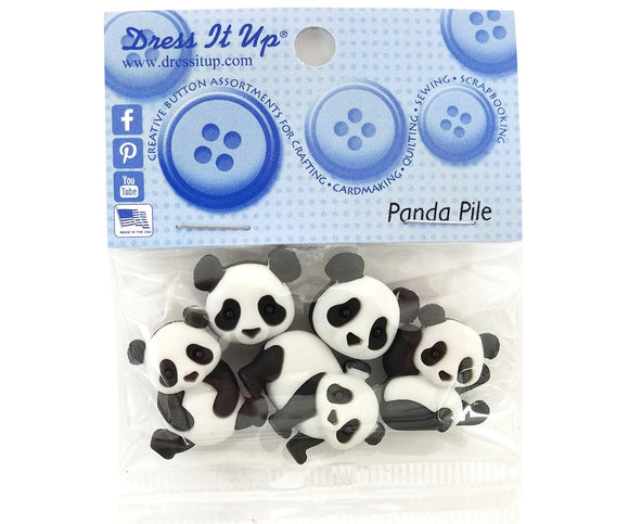 Panda Pile Novelty Buttons Dress It Up Theme Pack