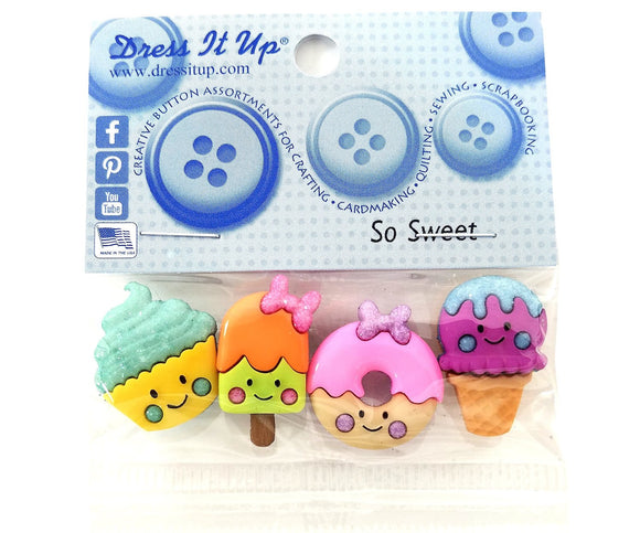 So Sweet Novelty Buttons Dress It Up Theme Pack