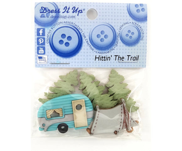 Hittin' The Trail Camping Novelty Buttons Dress it Up Theme Pack
