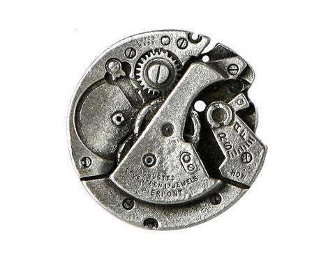TreasureCast Steampunk Watch 1 inch Pewter Button Antique Silver Color