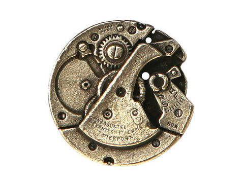 TreasureCast Steampunk Watch 1 inch Pewter Button Brass Color