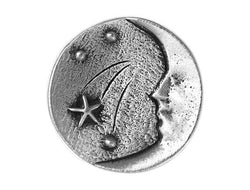 TreasureCast Moon and Stars 1 inch Pewter Button Antique Silver Color