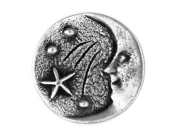 TreasureCast Moon and Stars 11/16 inch Pewter Button Antique Silver Color