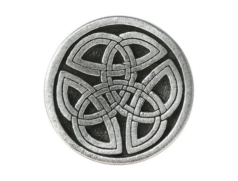 TreasureCast Round Celtic Tri Knot 1 inch Pewter Button Antique Silver Color Shank