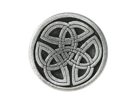 TreasureCast Round Celtic Tri Knot 3/4 inch Pewter Button Antique Silver Color