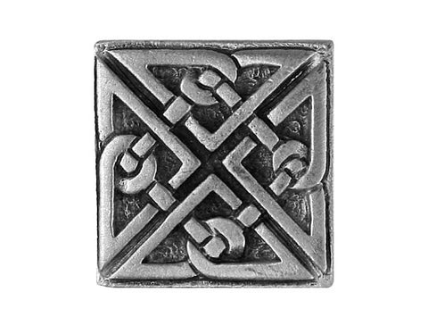 TreasureCast Square Celtic Knot 7/8 inch Pewter Button Antique Silver Color