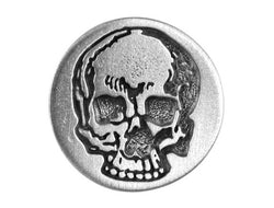 TreasureCast Yorick's Skull 1 inch Pewter Button Antique Silver Color