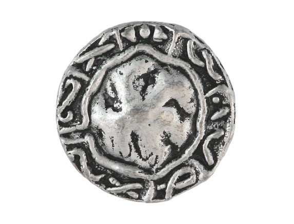 Aegean  7/8 inch Metal Button Antique Silver Color