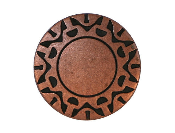 Cosmic Disc 11/16 inch Metal Button Antique Copper Color
