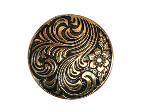Damascene 7/8 inch Plastic Button Black / Gold Color