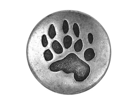 Bear Claw  3/4 inch Metal Button Antique Silver Color