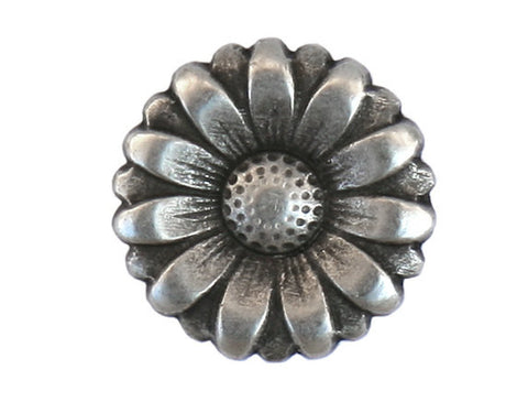 Morning Flower 7/8 inch Metal Button Antique Silver Color