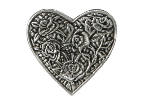 TreasureCast Rose Heart 1 inch Pewter Button Antique Silver Color