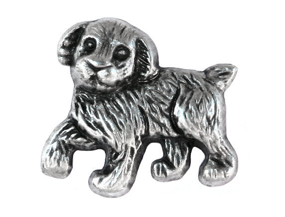 Pooch Puppy Dog 1 inch Metal Button Antique Silver Color