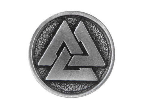 TreasureCast Viking Valknut 1 inch Pewter Button Antique Silver Color