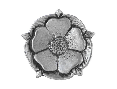 TreasureCast Tudor Rose<br> 7/8 inch Pewter Button<br> Antique Silver Color