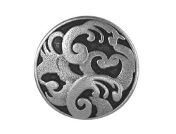 Allure Scroll Leaf<br> 7/8 inch Metal Button<br> Antique Silver Color