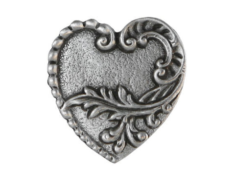 TreasureCast Victorian Heart 7/8 inch Pewter Button Antique Silver Color